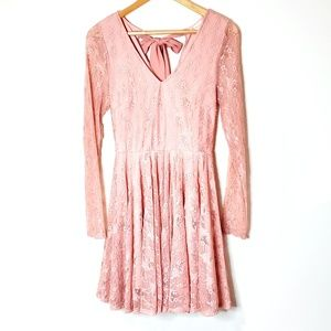 Altar'd State Pink Floral Lace Dress Size Medium
